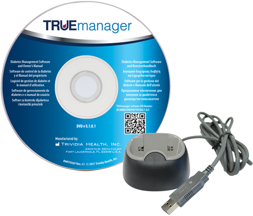 TRUEmanager Diabetes Management Software DVD and docking station