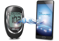 Sync blood glucose results to mobile device